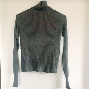 Zara Grey Ribbed Turtleneck Sweater